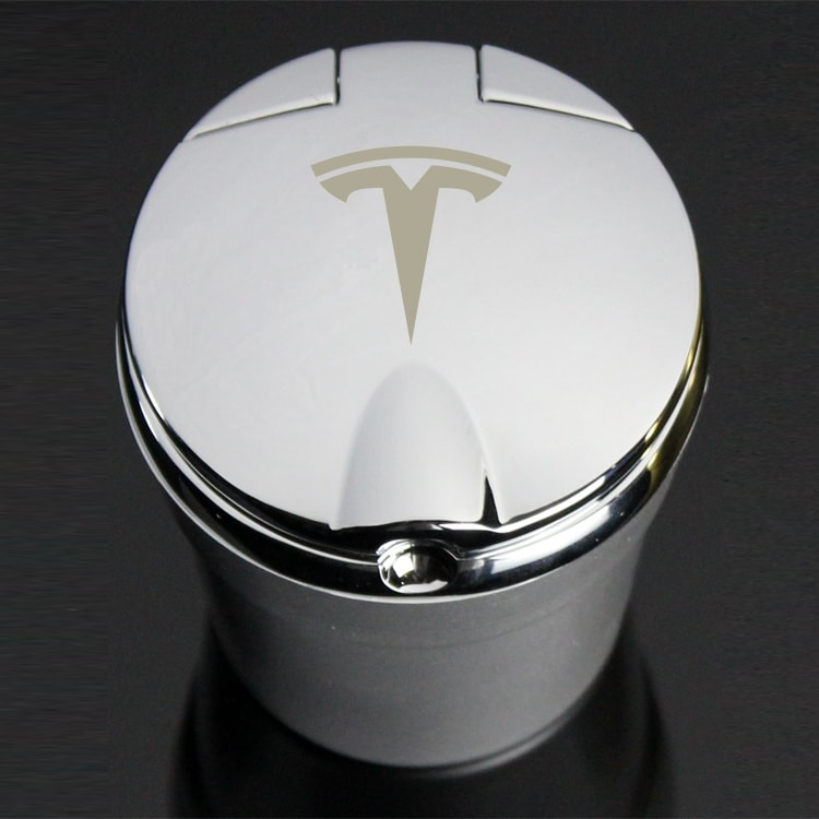 Tesla Portable LED Blue Lit Smokeless Stand Cylinder Cup Ash Tray