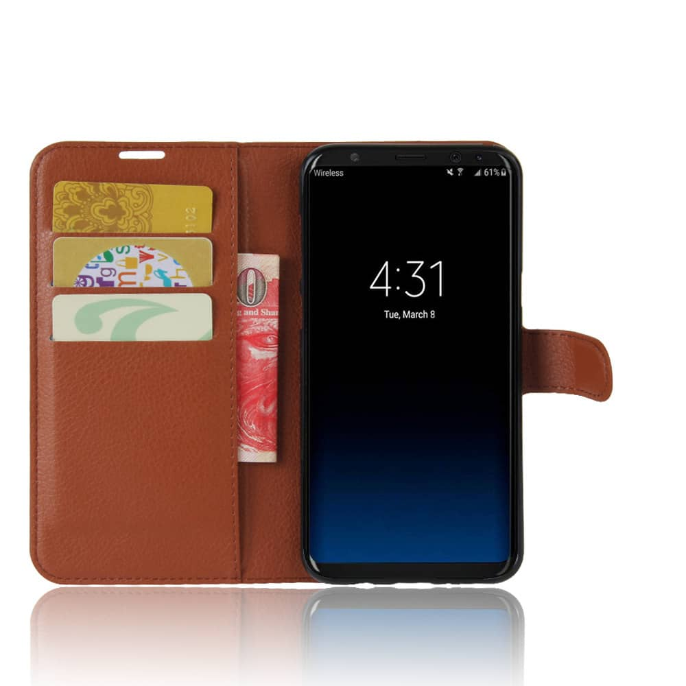 Galaxy S8+ Plus Rugged Leather Card Holder Wallet Case With Latch