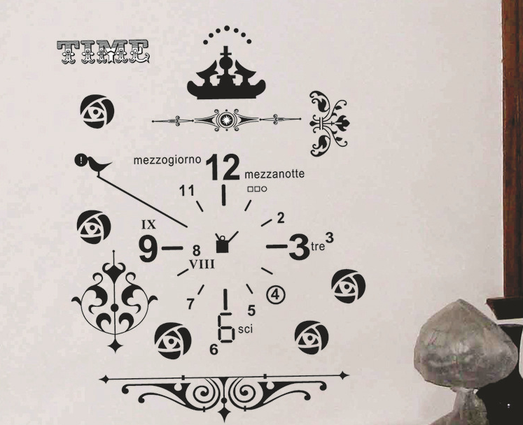 Black Time Clock Wall Decal Sticker
