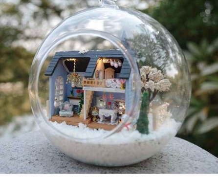 DIY Miniature House Model Glass Globe Ornament with Led Lights...