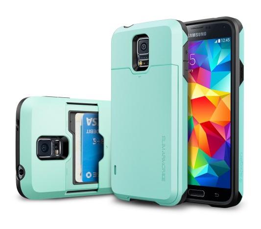 Spigen SGP Galaxy S5 Slim Armor CS Card Slider Wallet Case Mint