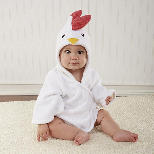 "Baby Aspen Neutral ""Barnyard Bathtime"" Chicken Hooded Spa Robe 0-9..."