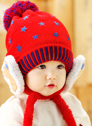 Cute Winter Star Fashion Knitted Hat with Bear Fleece Ear Muff...