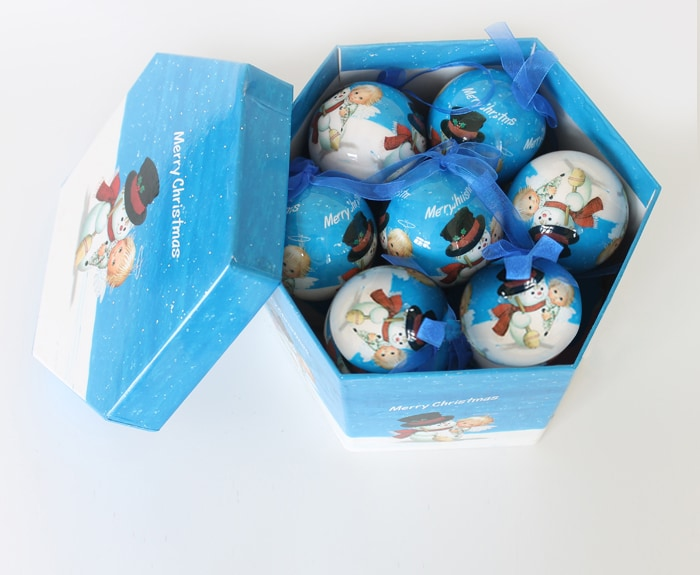 Elegant Christmas Bulbs With Ribbons Pack of 14 With Box