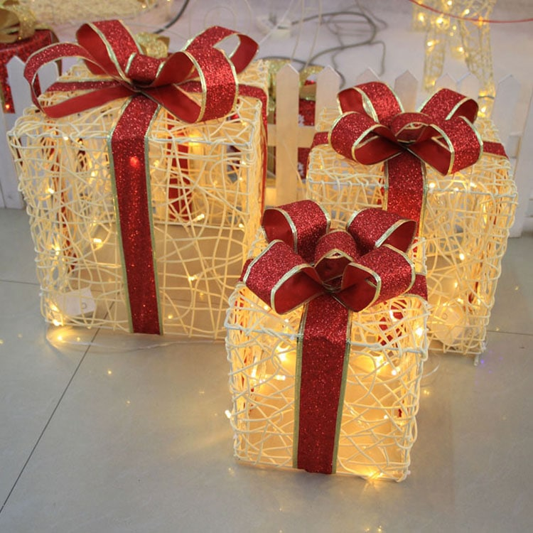 Christmas Present Decoration Set With Lights 3 Pcs