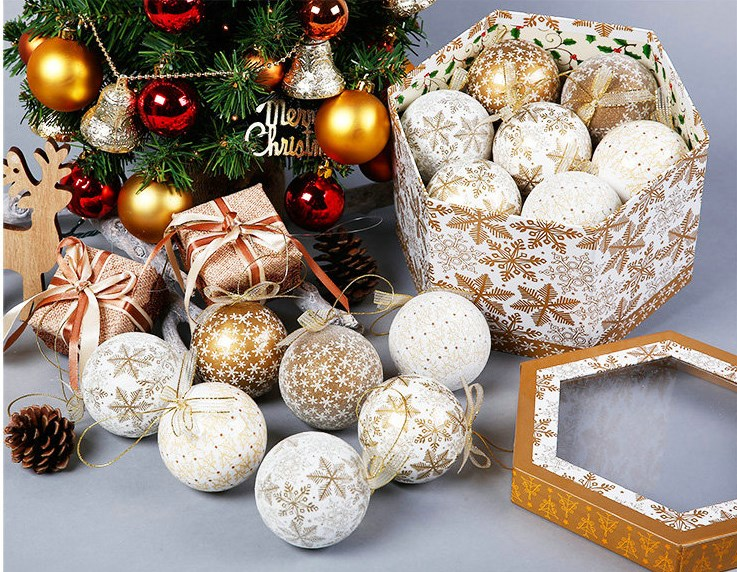 14 Elegant Christmas Tree Bulbs - Gold White