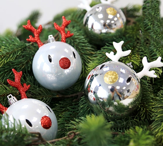 Reindeer Shape Christmas Tree Bulbs 4 Pcs