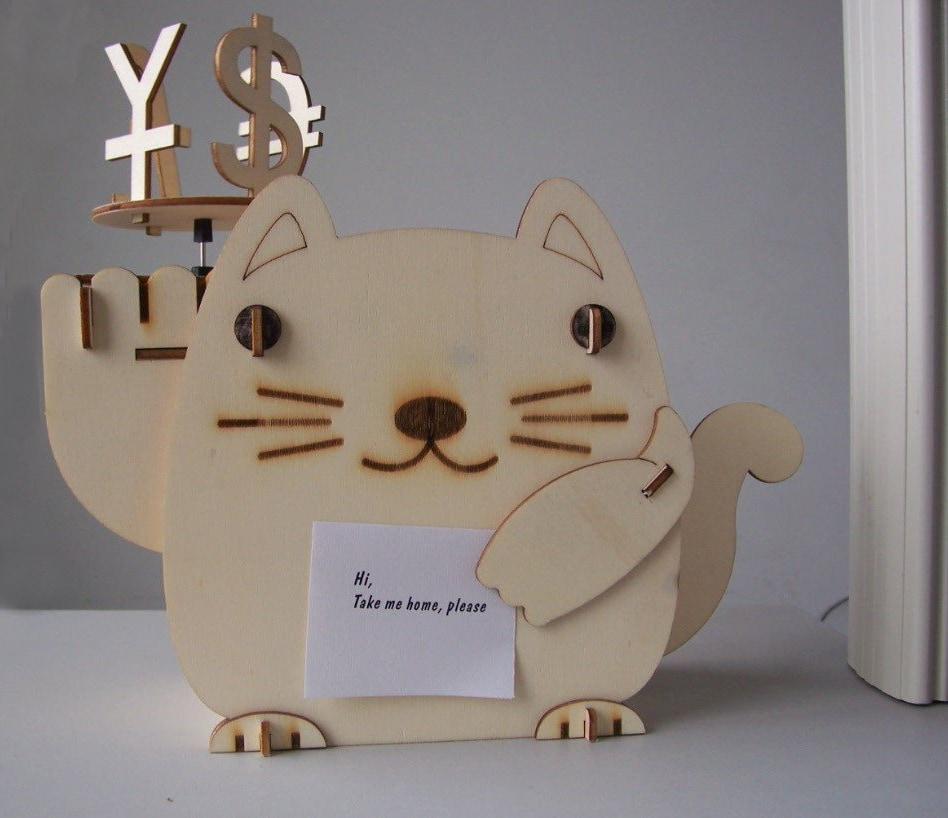 DIY Solar Kits Plywood Solar Fortune Cat Piggy Bank